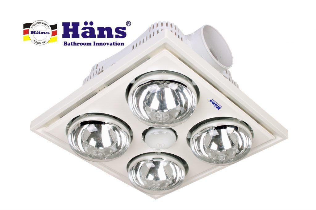 đèn sưởi nhà tắm âm trần Hans 4bóng – Model: H4B