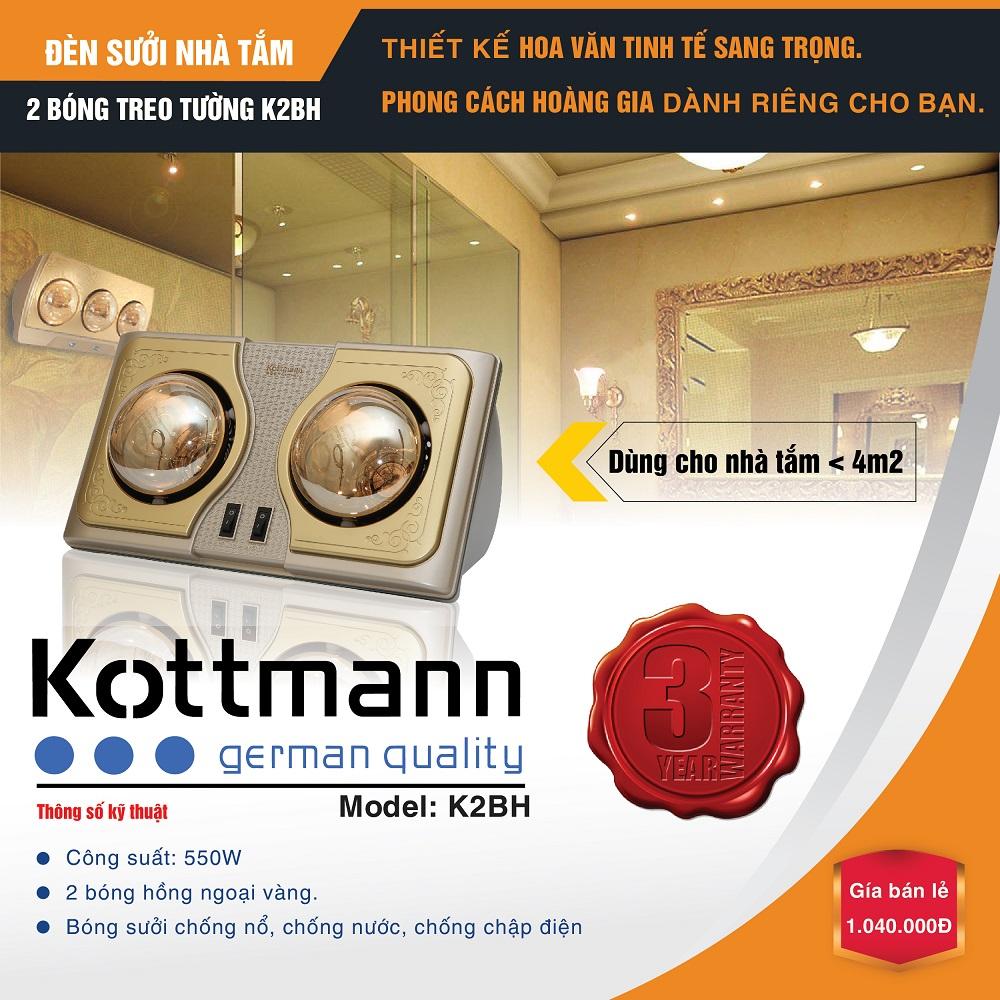 Đèn sưởi nhà tắm Kottmann K2BH hai bóng vàng