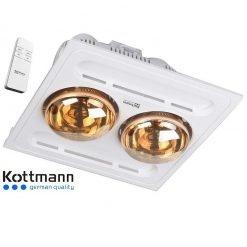 Đèn sưởi nhà tắm Kottmann hai bóng âm trần điều khiển K9-R