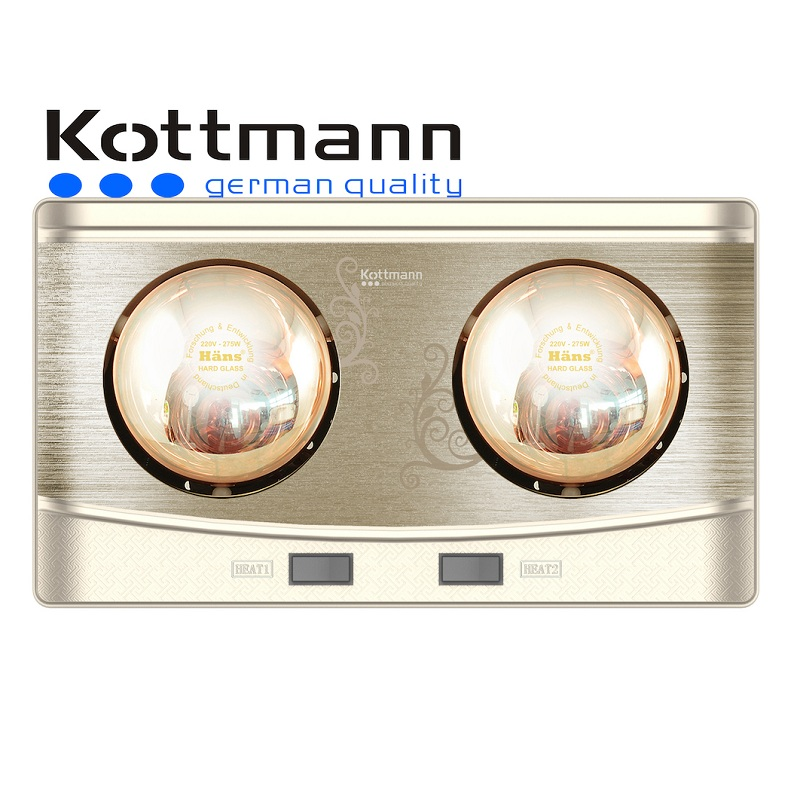 Đèn sưởi nhà tắm Kottmann 2 bóng treo tường K2B-Q