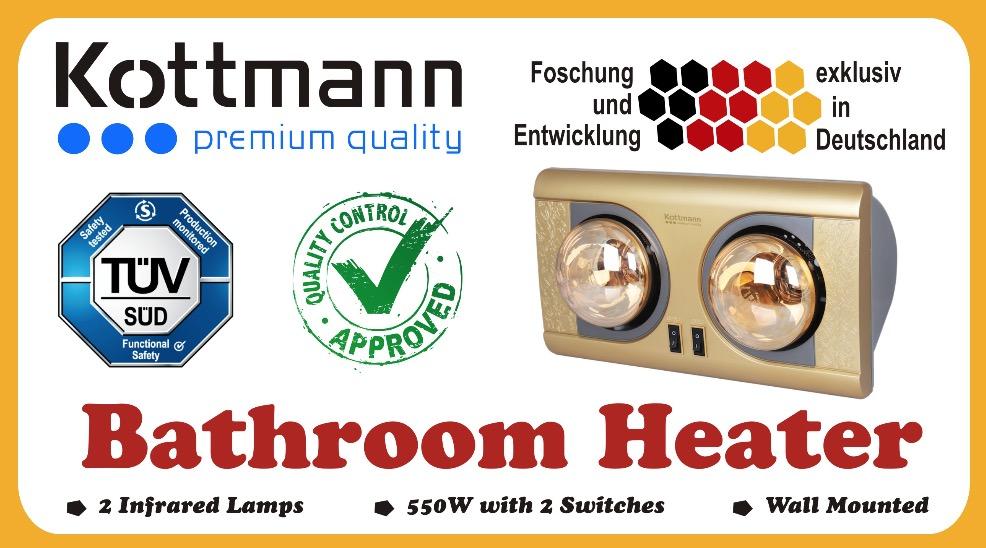 Vỏ hộp đèn sưởi nhà tắmKottmann 2 bóng K2BNV