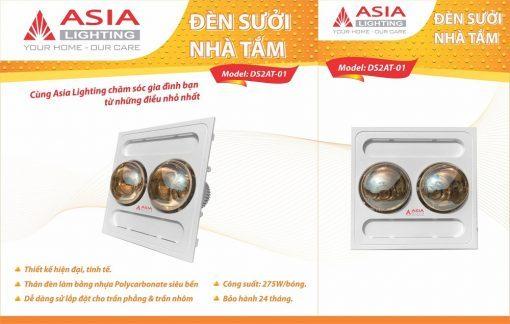 Đèn sưởi nhà tắm âm trần 2 bóng Asia