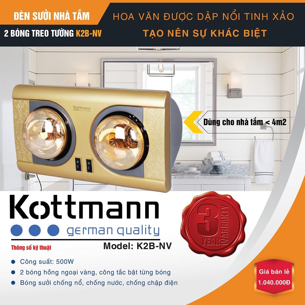 Đèn sưởi nhà tắm treo tường 2 bóng Kottmann K2BNV